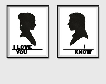 I Love You I Know - Star Wars Digital Print, Han Solo Princess Leia Quote, Star Wars Quote