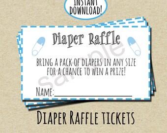 Blue Diaper Raffle Ticket - INSTANT DOWNLOAD - DIY - Printable Tickets