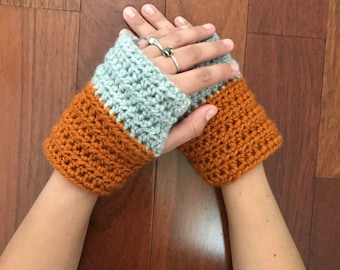 Pumpkin and Fog color blocked fingerless gloves, hand warmers, cozy gloves