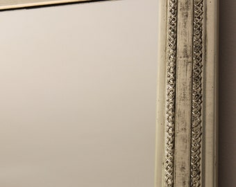 Mirror: modern wall mirror gilted white gold leaves