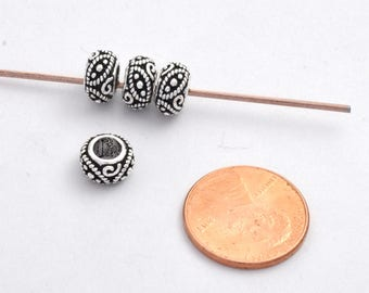 Sterling Silver Spacer Beads for Jewelry - Large Hole Spacer Beads - Bali Antique Silver filigree Spacer Beads - Pandora style Silver beads