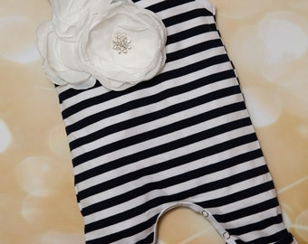 Baby Girl Infant Blue and White Stripe Sleeveless Layette Cotton Baby Romper with Beautiful Large Flower