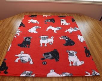Dog Blanket, Medium, Pugs