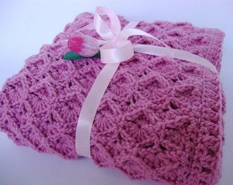 Crochet Baby Blanket, Blanket Merino Wool, Pink Baby Blanket, Rose Baby Blanket, Newborn Baby Blanket, Baby Gift, Lullaby Baby Blanket