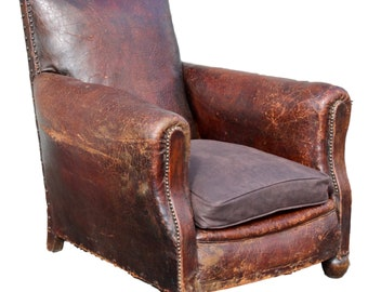 Superb Vintage Leather Club Chair c1920