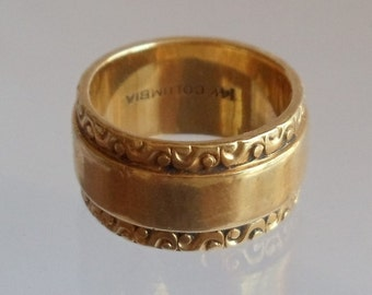 Vintage 14K Yellow Gold Ornate Band Ring, Size 5 Columbia Band Ring, Mid Century Ring, Signed Ring, Wedding Ring, Mother's Day Gift, 1960's