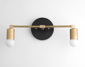Vanity Light Fixture   Bathroom Sconce   Vanity Lighting   Brass Black  Vanity   Mid Century Modern Fixture   Contemporary Lighting