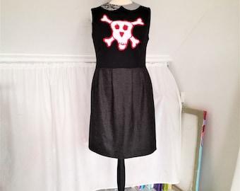Skull Dress, Black Skull Dress, Rock Dress, Day Dress, Womens dress, Cute dress, ooak Dress, one of a kind dress, Handmade, Peter Pan Dress