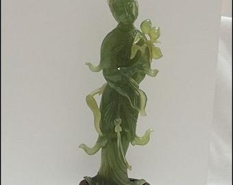 Antique 1900s Trinkets Pure-Hand-Emerald-Jadeite-Carving-Kwan-yin-Guan-Yin-Vase-Lotus-Flower-Guanyin Quan Yin buddha Statue
