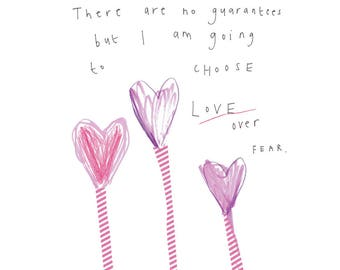 Love Over Fear - print from the 'Sketchy Muma' series by Anna Lewis