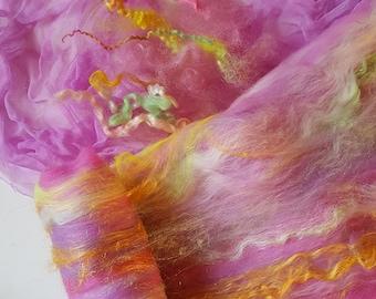 Sale buy 3 get 1 free Pink Orchid Nuno felting kit silk scarf, merino wool, mulberry silk, alpaca, firestar
