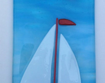 Sailing boat, fused glass art picture