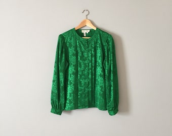 KELLY GREEN blouse | embossed roses floral poet blouse | pleated poet blouse