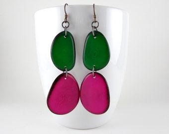 Kelly Green and Fuchsia Pink Tagua Nut Eco Friendly Earrings with Free USA Shipping #taguanut #ecofriendlyjewelry