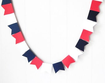 Red White Blue Flag Bunting / Patriotic Garland / Labor Day Decor / 4th of July Garland