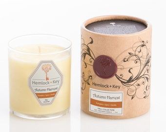 Autumn Harvest - Soy + Beeswax candles by Hemlock + Key