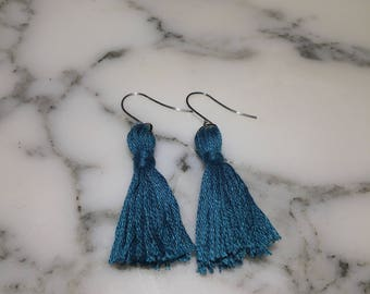 Boho Tassel Earrings / Sterling Silver Ear Hooks