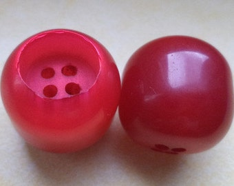 6 Buttons Pink Red 21mm (5916) button