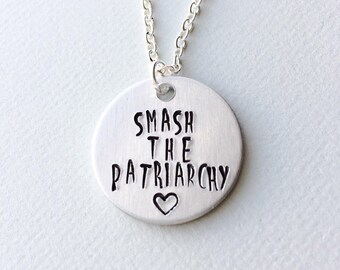 Smash the patriarchy, feminist necklace, feminist gift, girl power, feminist jewelry, feminism