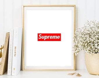 supreme fashion logo art painting art print room decor typographic print brandy melville frame quotes bedroom