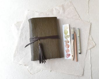 Green Leather Journal with Tassel
