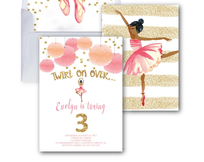 Ballerina Invitation // Ballet Invitation // Gold Glitter // Ballet Birthday Party // Ballerina Party // Watercolor // VIENNA COLLECTION