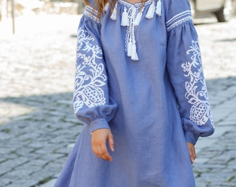 Ukrainian Embroidered Linen Dress Vyshyvanka Dress Ethno Dress Bohemian Chic Style Women clothing Boho