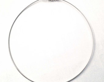 solid 925 bright sterling silver hoop necklace  wire necklace with 14 gague , 16 gauge or 18 gauge round wire - No Return