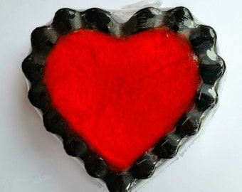 Heart Soap/Red Soap/Black Soap/Handmade Soap/Pink Soap/Scalloped Edge Soap/Activated Charcoal