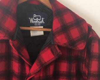 Vintage Woolrich Wool Plaid Classic Hunt Coat Sz. M USA