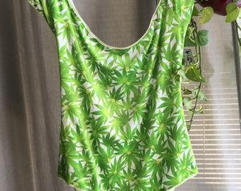 XL Weed print Velvet Off the Shoulder Cross Back Bodysuit Extra Large 16 18