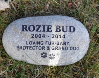 "Personalized pet memorial stone engraved custom 11"""