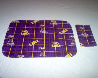 Placemat And Napkin Made Using L S U fabric