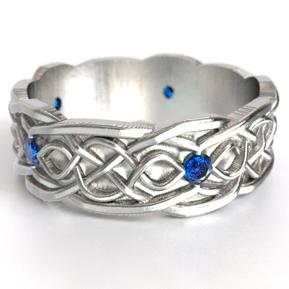 Celtic Wedding Ring With Infinity Symbol Pattern With Blue Sapphire Stones in Sterling Silver, Made in Your Size CR-1050