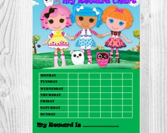 Lalaloopsy reward chart,children's reward chart,Girl's reward chart,potty chart,choir chart,kids reward chart,behaviour chart,personal