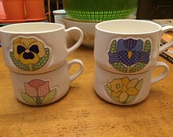 Vintage Japan Enesco Flower Mugs- 4