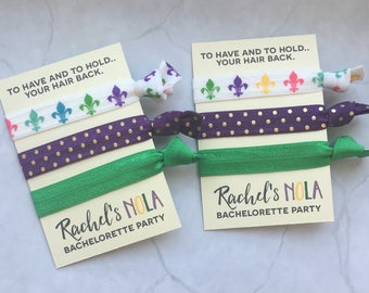 bachelorette party favor hair ties // to have and to hold.. your hair back // NOLA // // new orleans // custom