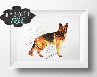 Dog Lover Gift, Dog Wall Decor Printable, German Shepherd Dog Poster Print, Gift For Dog Lover Art, Dog Art Print Dog Owner Painting Artwork