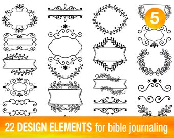 22 PRINTABLE TEMPLATES for bible journaling verse art, illustrated faith bible clipart stamps, scripture art printable stencils.