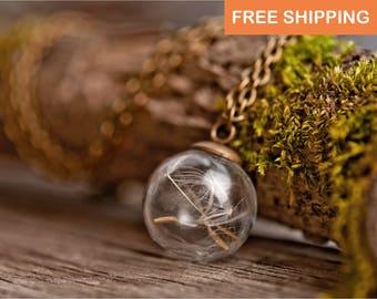 Dandelion necklace, anniversary gift, wedding gift, birthday gift for her, gift for women, gift for mom, dandelion jewelry, wish necklace