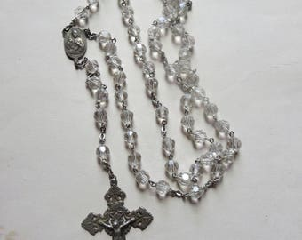 Vintage Chapel Sterling Silver Rosary with Ornate Crucifix and Large Faceted Crystal Beads with Scapular Center, Catholic Devotional
