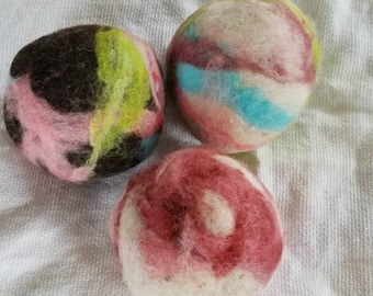 Spring colored wool dryer balls