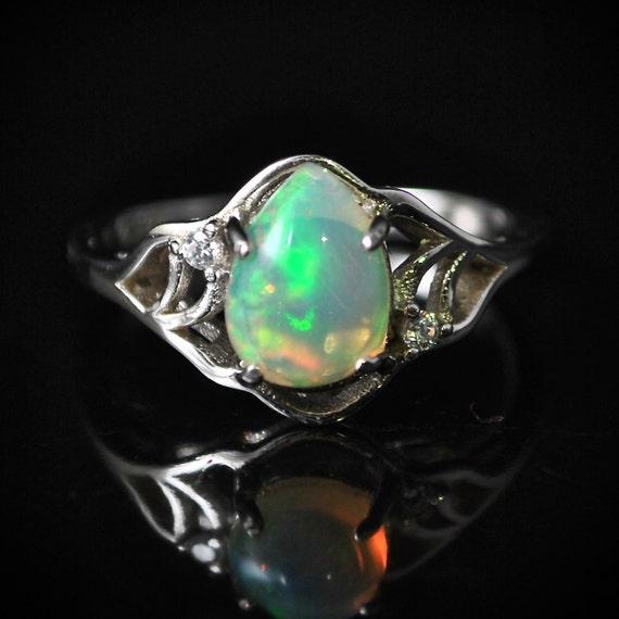 Sterling Silver Opal  Ring Sz 6.75  #10022