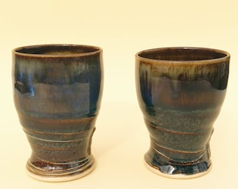 Brown/blue  pottery whisky goblet. Dark blue small shot cup. Scottish Landscapes.