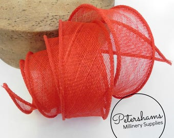 Hand Rolled Sinamay Ribbon Trim for Millinery, Hat Making & Fascinators - Red