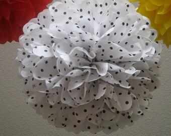 Tissue Paper Pom Pom - Black and White Polka Dot