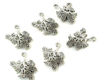 Silver Ox Pewter Double Sided Pine Cone Evergreen Branch Charms - 6