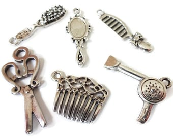 6, Assorted (3D) Hair Stylist, Cosmetologist, Cosmetology, Brush, Comb, Scissor, Mirror, Blow Dryer, Collection Charms Item:C6