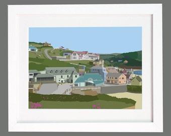 Hope Cove, Devon.  Village and Beach Illustration Digital Print
