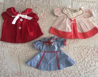 Three Vintage 1930s Doll Dresses